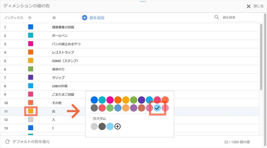 「出」の色を変更