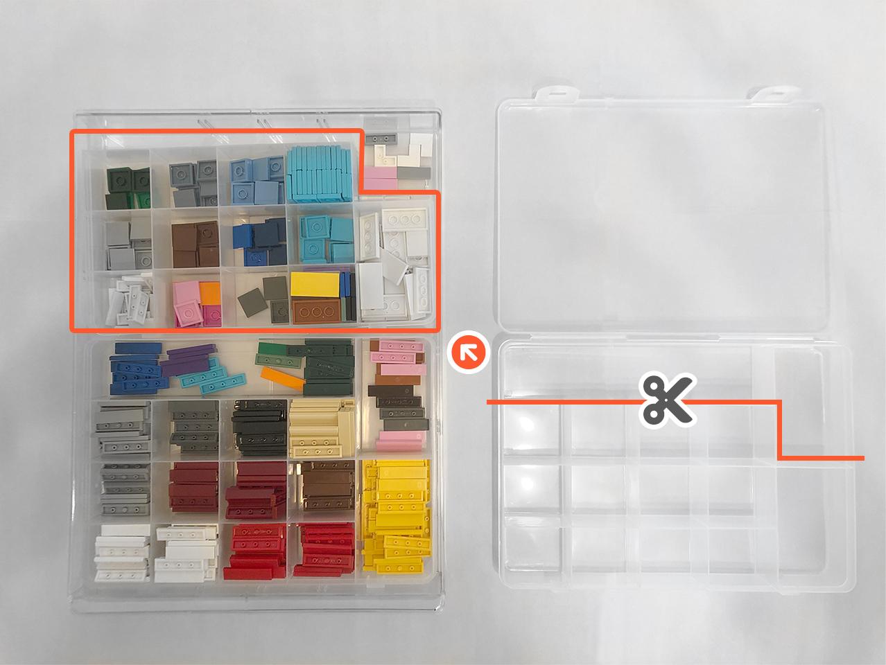 100均ケースのはみ出し部分を切り取り並べるとジャストサイズ