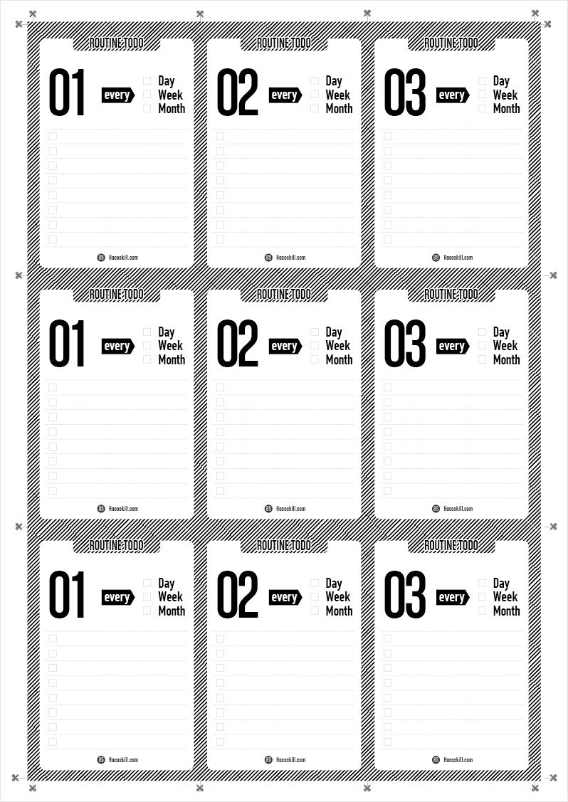 日、週、月にX回ファイルボックスの中身を活用するラベル